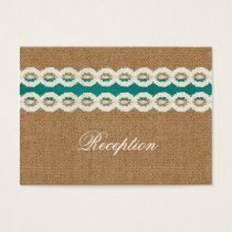 FAUX green lace and burlap wedding Reception Cards