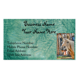 Faux Green Leather & Happy Horse Design 2 Business Card Template