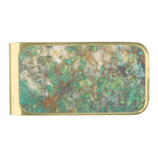 Faux Green Mineral Stone Gold Finish Money Clip