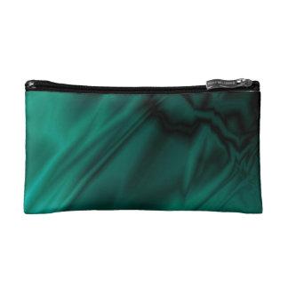 Faux Green Satin Makeup Bag