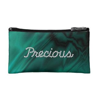 Faux Green Satin Precious Makeup Bag