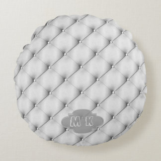 Faux Grey Leather Upholstery Custom Monogram Round Pillow