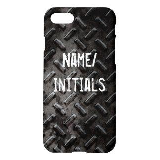 Faux Grunge Black Stamped Metal Industrial iPhone 8/7 Case