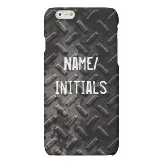 Faux Grunge Black Stamped Metal Industrial Matte iPhone 6 Case
