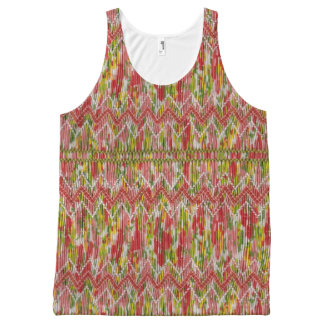 Faux Hand Smocked Chevrons All-Over-Print Tank Top