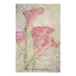 Faux Handmade Paper: Calla Lily Flowers Floral Stationery