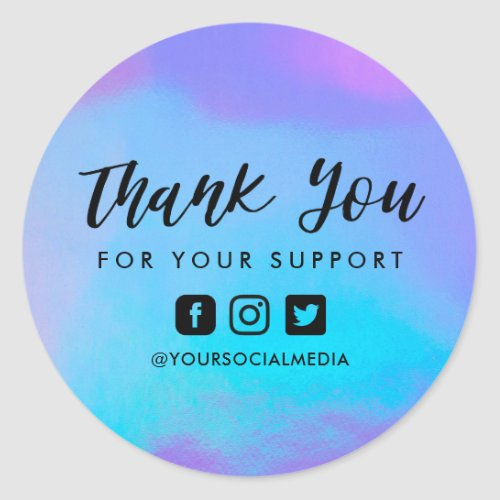 Faux Holographic Custom Business Thank You Classic Round Sticker