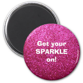Faux Hot Pink Glitter 2 Inch Round Magnet