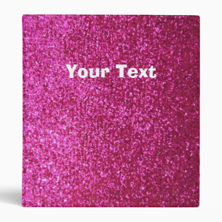 Faux Hot Pink Glitter 3 Ring Binder