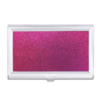Faux Hot Pink Glitter Background Sparkle Business Card Case