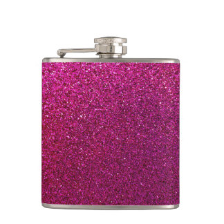 Faux Hot Pink Glitter Background Sparkle Flask