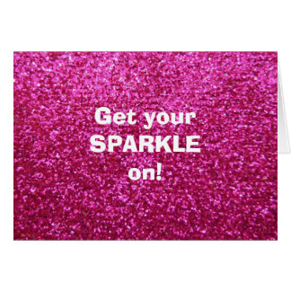 Faux Hot Pink Glitter Greeting Card
