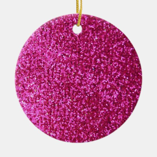 Faux Hot Pink Glitter Ceramic Ornament
