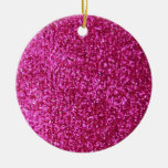 Faux Hot Pink Glitter Christmas Tree Ornament