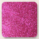 Faux Hot Pink Glitter Coaster