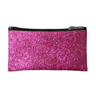 Faux Hot Pink Glitter Cosmetic Bag