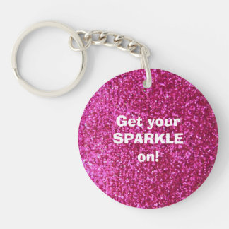 Faux Hot Pink Glitter Double-Sided Round Acrylic Keychain