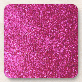 Faux Hot Pink Glitter Drink Coaster