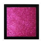 Faux Hot Pink Glitter Gift Box