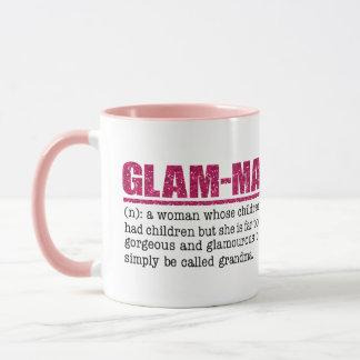Faux Hot Pink Glitter Glam-Ma Mug