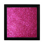Faux Hot Pink Glitter Jewelry Boxes