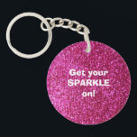 """Faux Hot Pink Glitter Keychain<br><div class=""""desc"""">NOTE: PRODUCT DOES NOT CONTAIN ACTUAL GLITTER. IT IS A GLITTER GRAPHIC. &quot;hot pink&quot;, pink, glitter, glittery, sparkle, sparkles, sparkly, sparkley, sparkling, glittering, glitters, shiny, shine, blue, elegant, stylish, girly, girl, girls, bling, cute, fun, shiney, fashion, fashionable, trendy, soft, focus, modern, contemporary, pretty, sequin, sequins, glam, glamor, glamorous, glamour, style,...</div>"""