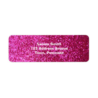 Faux Hot Pink Glitter Label