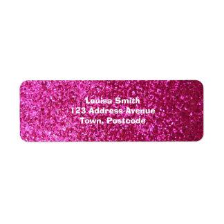Faux Hot Pink Glitter Return Address Label