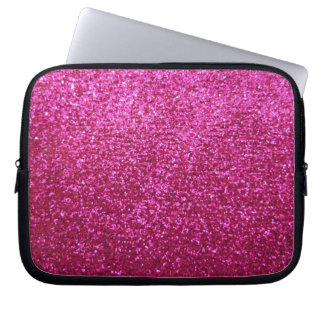 Faux Hot Pink Glitter Laptop Computer Sleeves