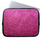 Faux Hot Pink Glitter Laptop Sleeve