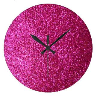 Faux Hot Pink Glitter Large Clock