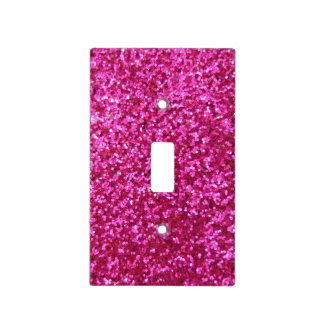 Faux Hot Pink Glitter Light Switch Cover