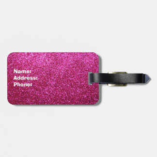 Faux Hot Pink Glitter Luggage Tag