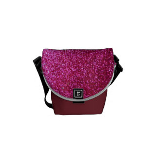 Faux Hot Pink Glitter Courier Bags