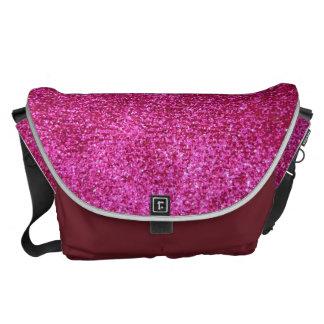 Faux Hot Pink Glitter Commuter Bag