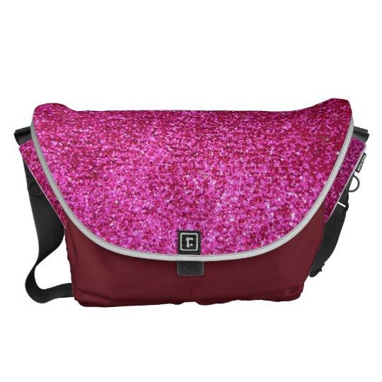 Faux Hot Pink Glitter Messenger Bag