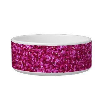 Faux Hot Pink Glitter Cat Bowls