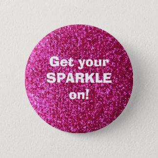 Faux Hot Pink Glitter Pinback Button