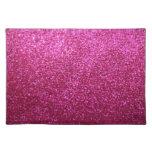 Faux Hot Pink Glitter Place Mats