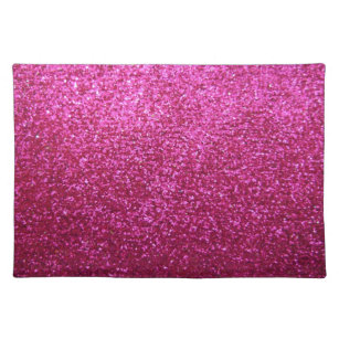 Faux Hot Pink Glitter Placemat
