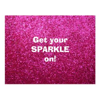 Faux Hot Pink Glitter Postcard
