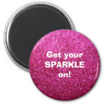 Faux Hot Pink Glitter Refrigerator Magnet