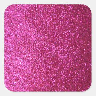 Faux Hot Pink Glitter Square Sticker