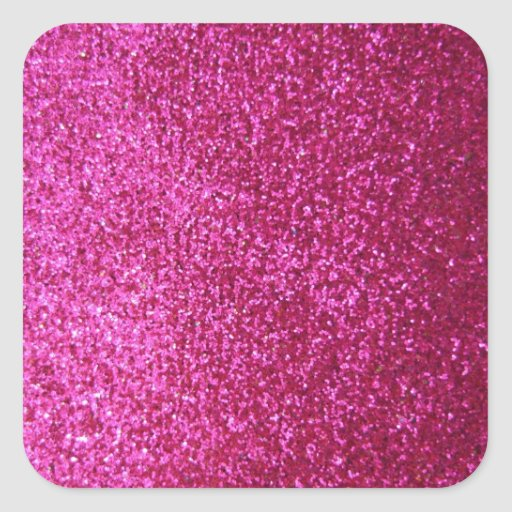 Faux Hot Pink Glitter Square Stickers