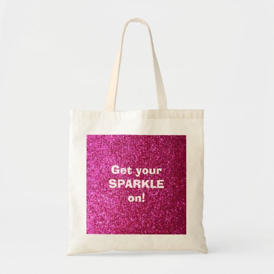 Faux Hot Pink Glitter Tote Bag