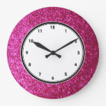 Faux Hot Pink Glitter wall clock