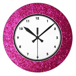 Faux Hot Pink Glitter wall clock
