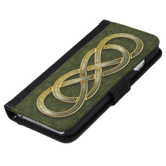 Faux Jade & Gold Double Infinity Symbol on Green Wallet Phone Case For iPhone 6/6s