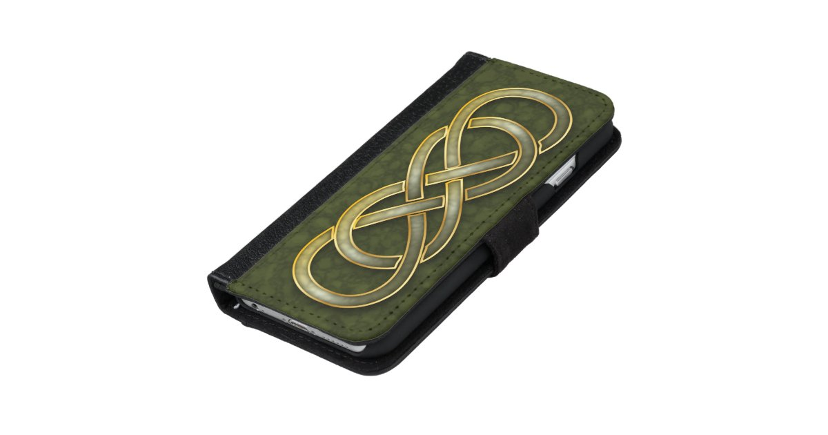 Faux Jade Gold Double Infinity Symbol On Green Wallet Phone Case