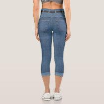 Faux Jeans Capri Leggings